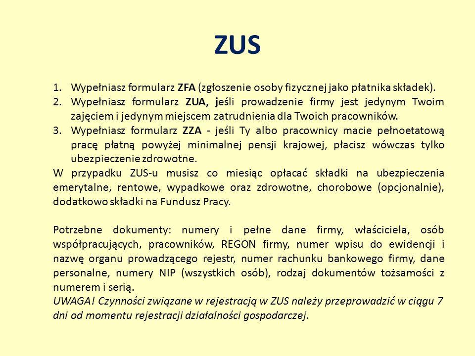 ZUS Wypełniasz formularz ZFA (zgłoszenie osoby fizycznej jako płatnika składek).