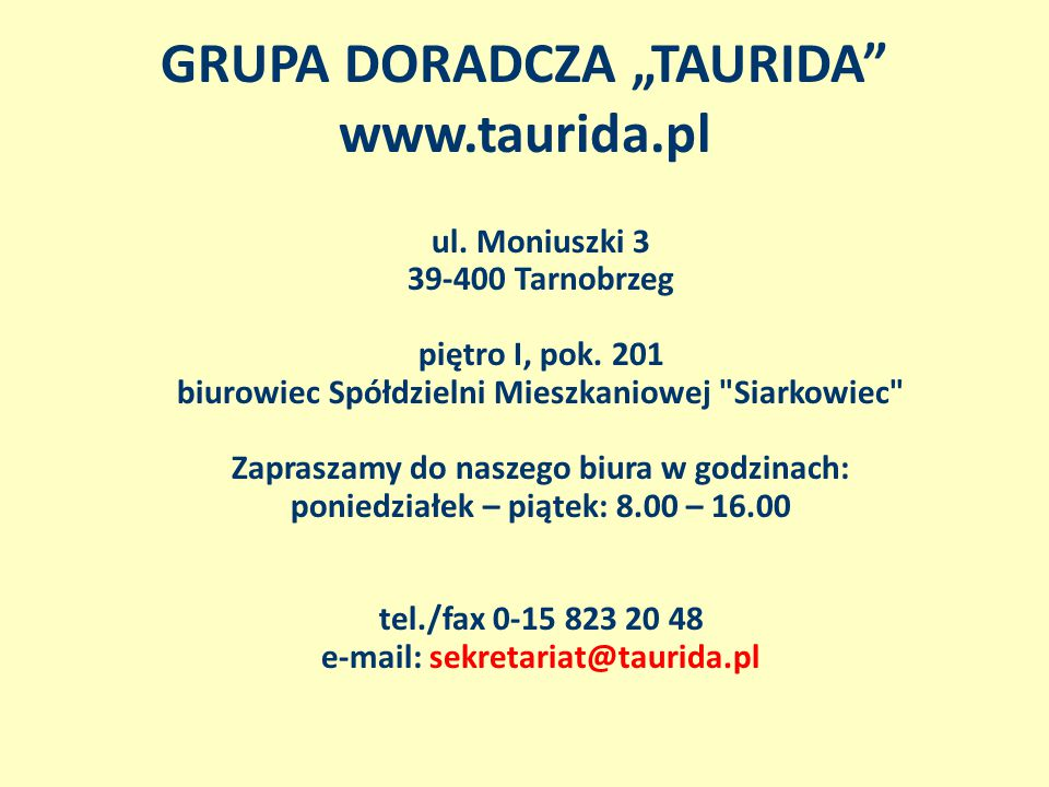 """GRUPA DORADCZA """"TAURIDA www.taurida.pl"""