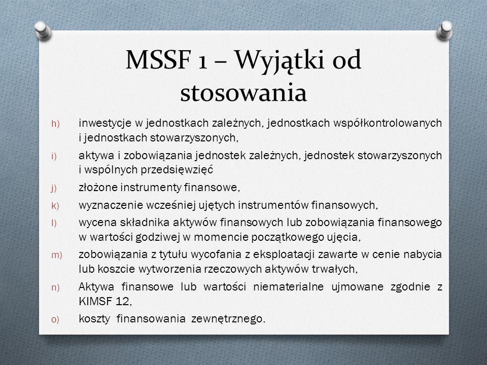 MSSF 1 – Wyjątki od stosowania