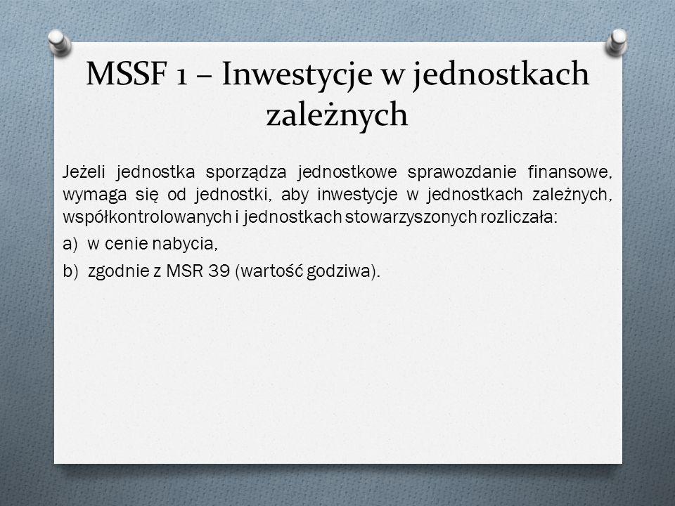 MSSF 1 – Inwestycje w jednostkach zależnych