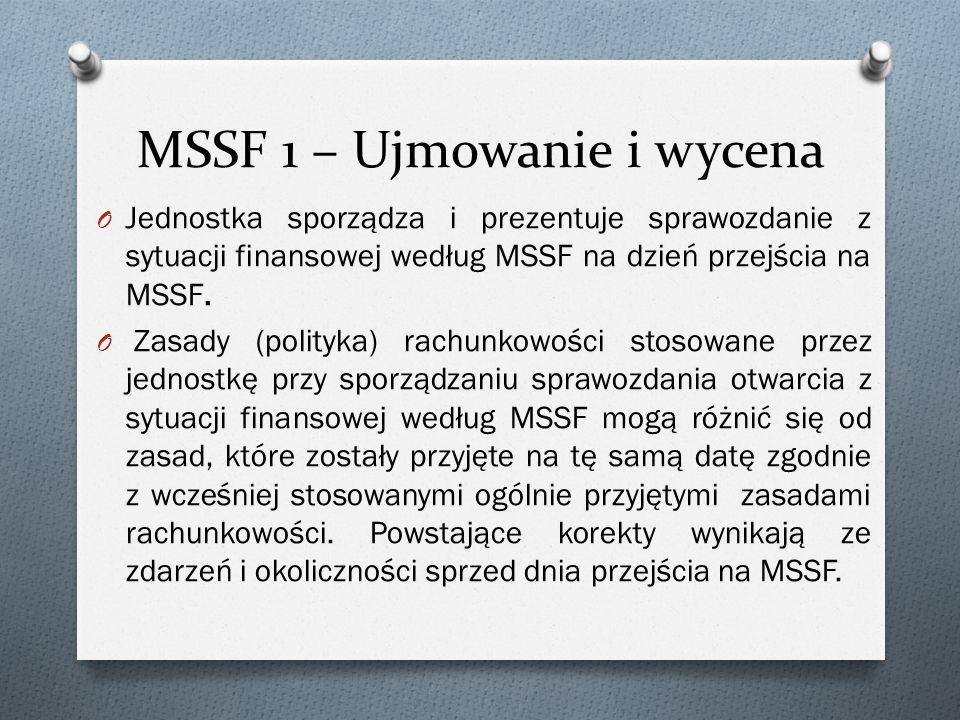MSSF 1 – Ujmowanie i wycena