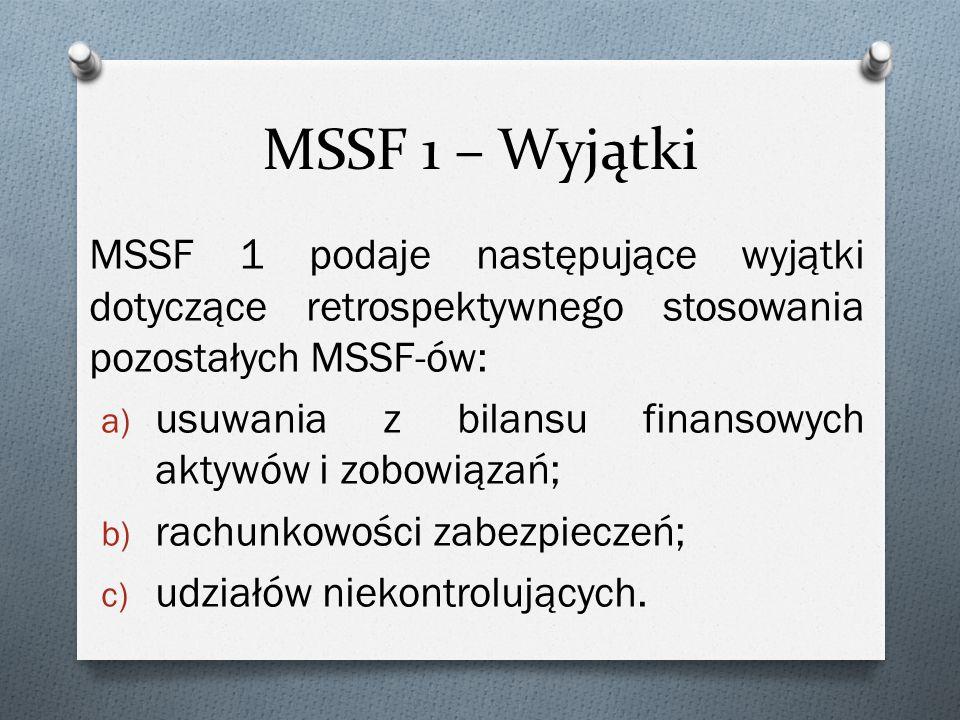 MSSF 1 – Wyjątki MSSF 1 podaje następujące wyjątki dotyczące retrospektywnego stosowania pozostałych MSSF-ów: