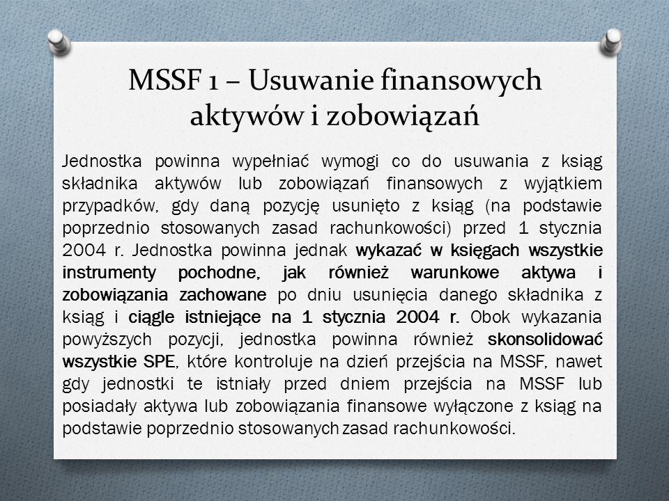 MSSF 1 – Usuwanie finansowych aktywów i zobowiązań