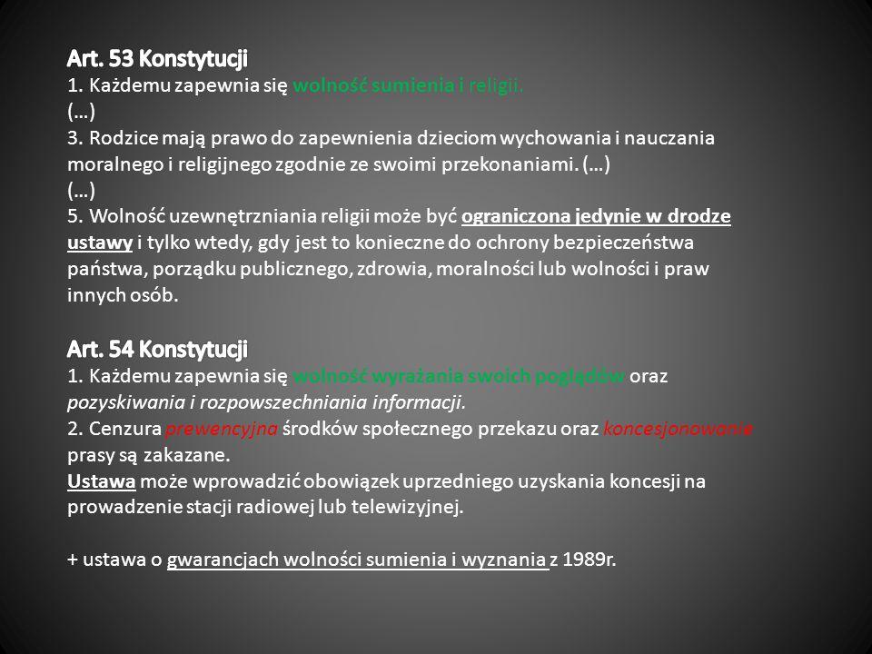 Art. 53 Konstytucji 1. Każdemu zapewnia się wolność sumienia i religii.