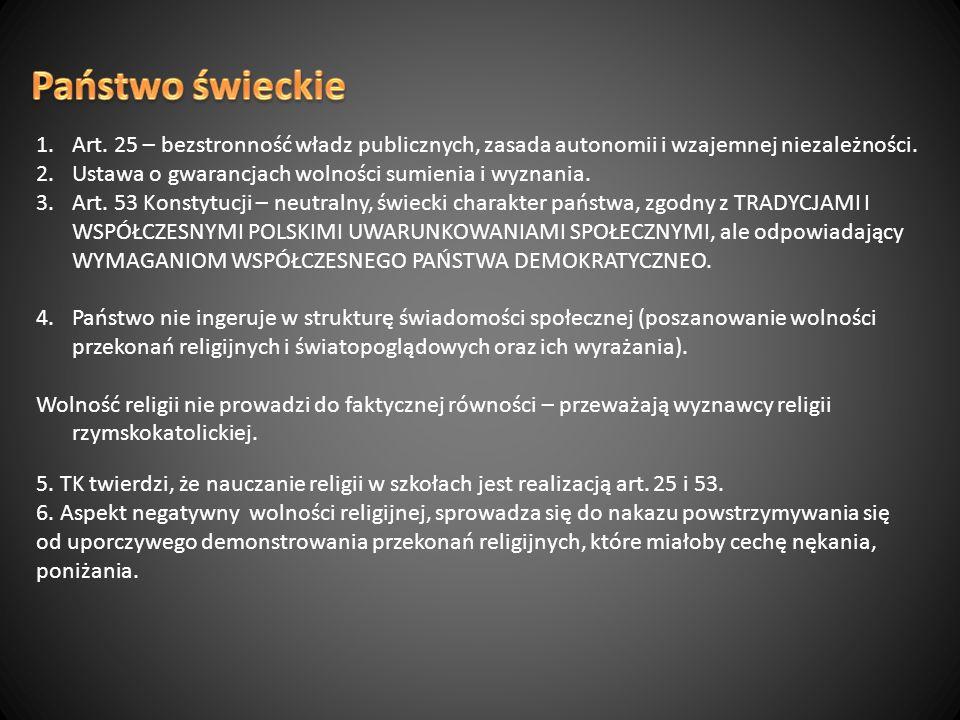 Państwo świeckie Art. 25 – bezstronność władz publicznych, zasada autonomii i wzajemnej niezależności.