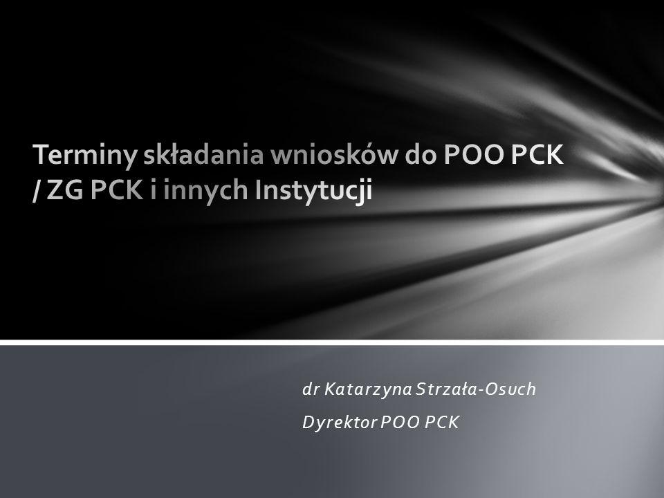 Terminy składania wniosków do POO PCK / ZG PCK i innych Instytucji