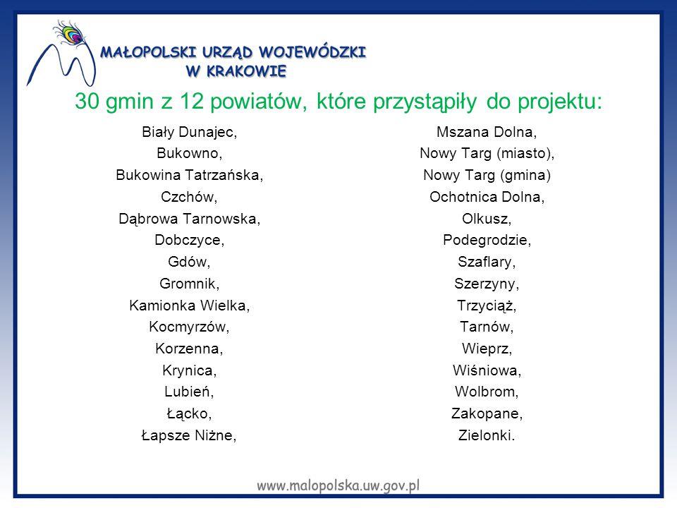30 gmin z 12 powiatów, które przystąpiły do projektu: