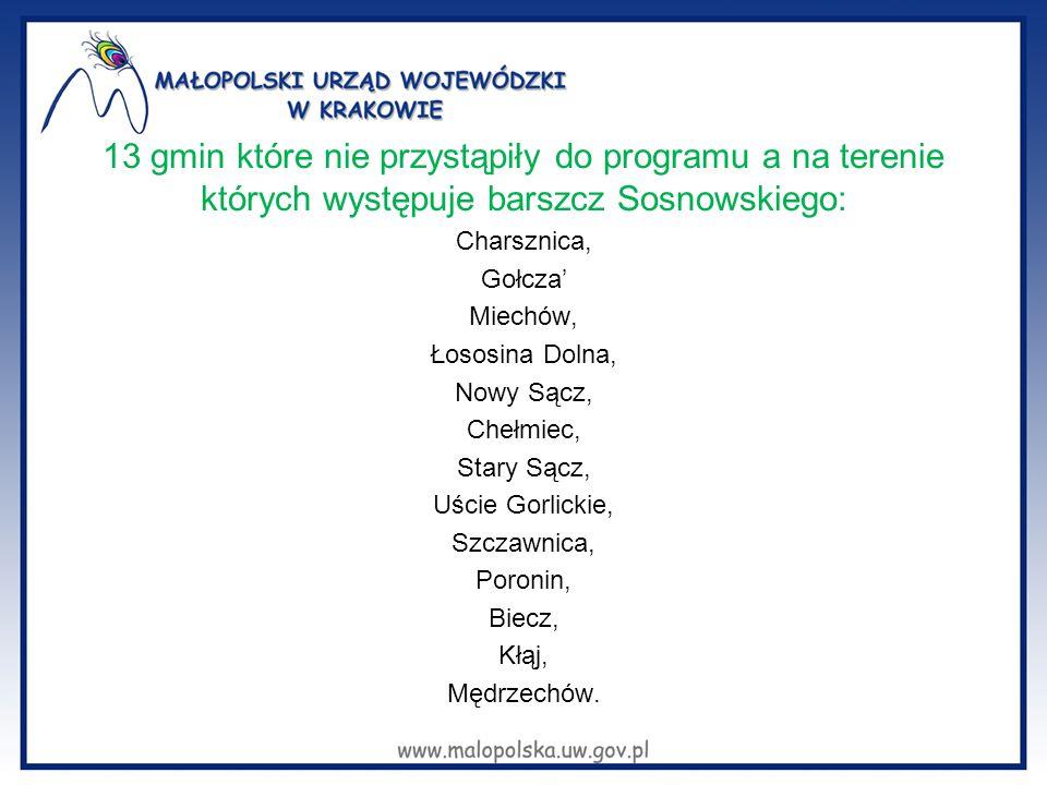 13 gmin które nie przystąpiły do programu a na terenie których występuje barszcz Sosnowskiego:
