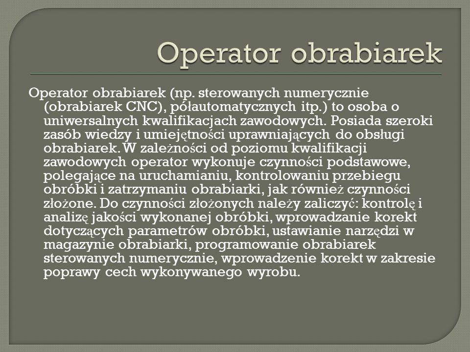 Operator obrabiarek
