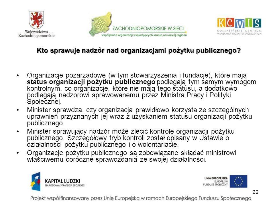 Kto sprawuje nadzór nad organizacjami pożytku publicznego