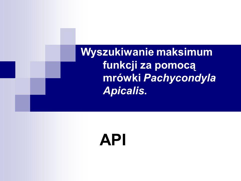 Wyszukiwanie maksimum funkcji za pomocą mrówki Pachycondyla Apicalis.