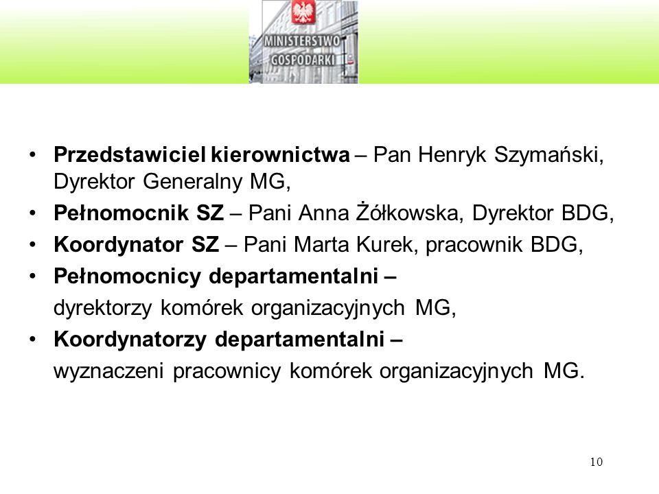 Przedstawiciel kierownictwa – Pan Henryk Szymański, Dyrektor Generalny MG,
