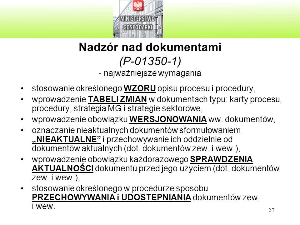 Nadzór nad dokumentami (P-01350-1) - najważniejsze wymagania