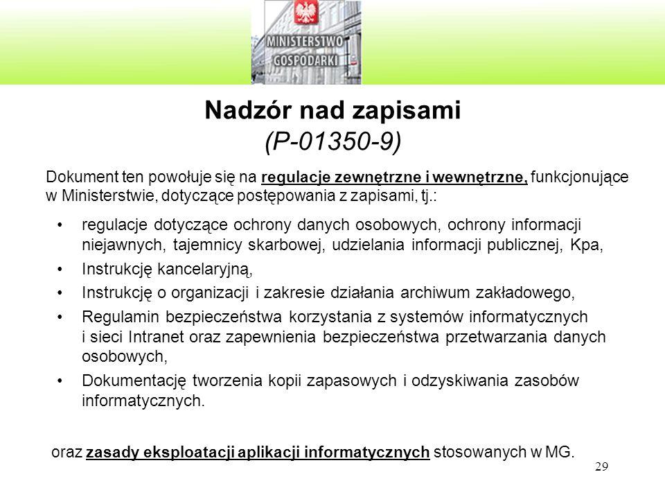 Nadzór nad zapisami (P-01350-9)