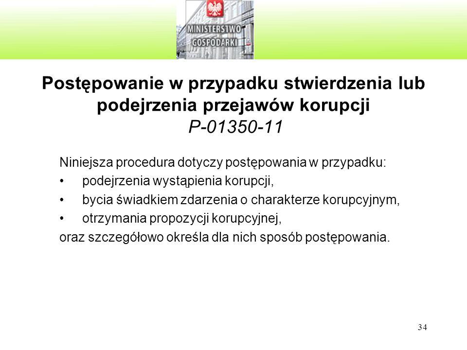 Postępowanie w przypadku stwierdzenia lub podejrzenia przejawów korupcji P-01350-11