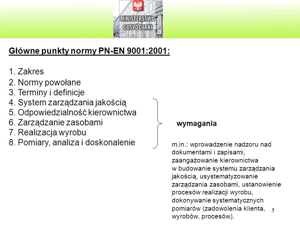 Główne punkty normy PN-EN 9001:2001: Zakres Normy powołane