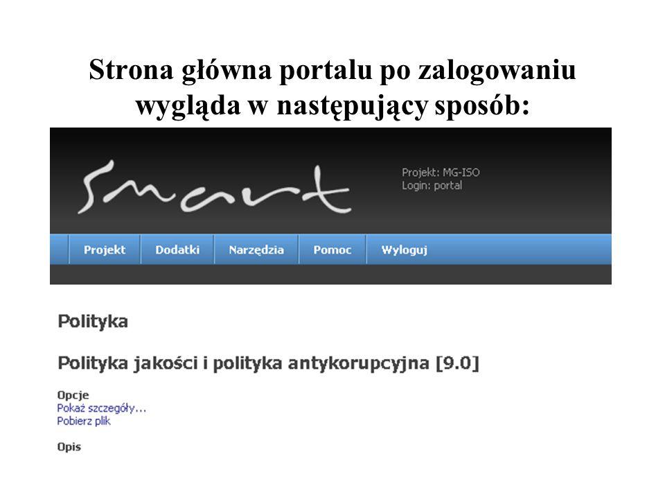 Strona główna portalu po zalogowaniu wygląda w następujący sposób: