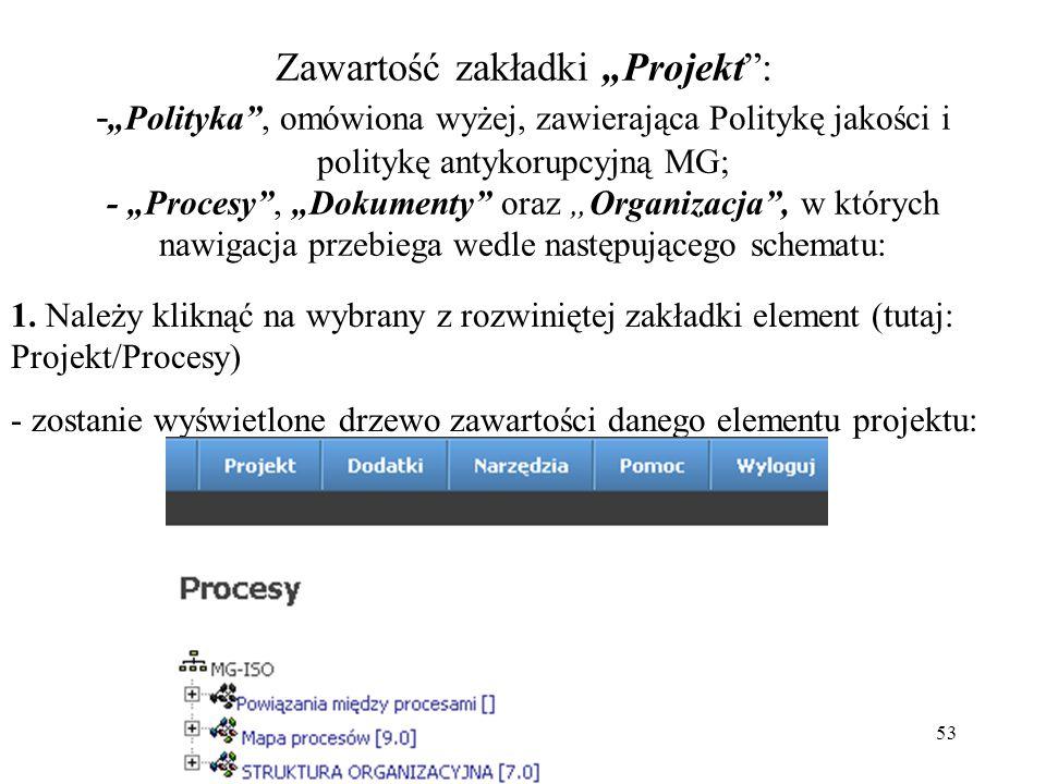 """Zawartość zakładki """"Projekt : -""""Polityka , omówiona wyżej, zawierająca Politykę jakości i politykę antykorupcyjną MG; - """"Procesy , """"Dokumenty oraz """"Organizacja , w których nawigacja przebiega wedle następującego schematu:"""