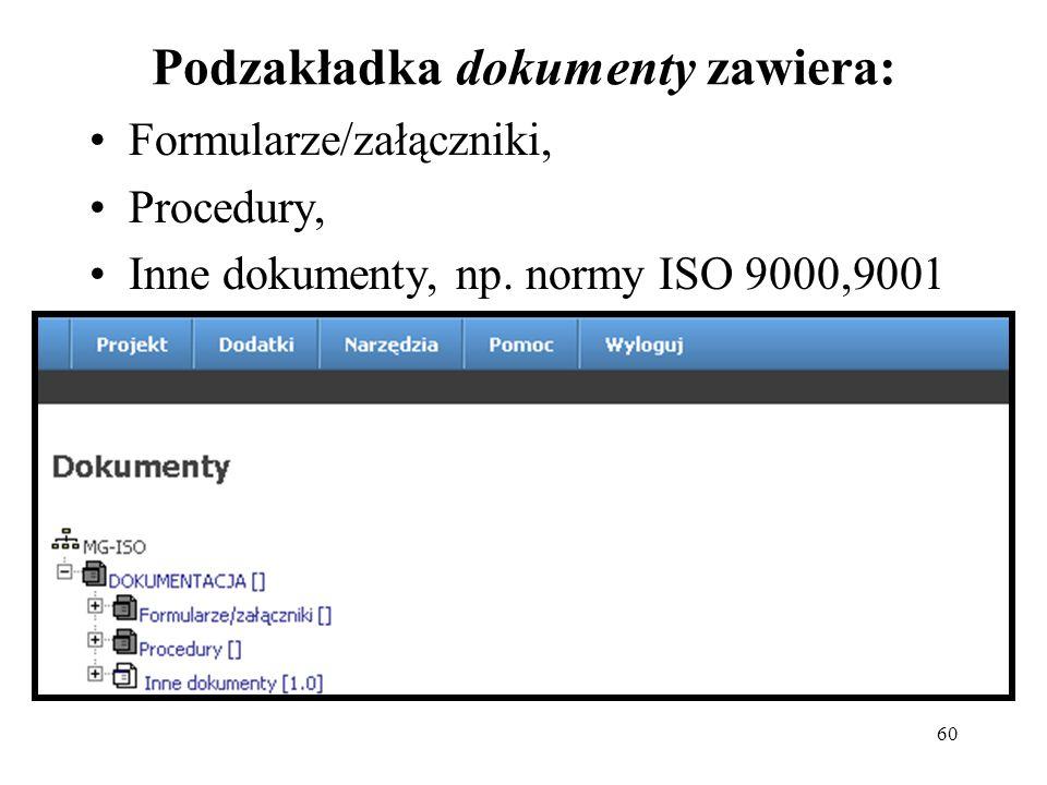 Podzakładka dokumenty zawiera: