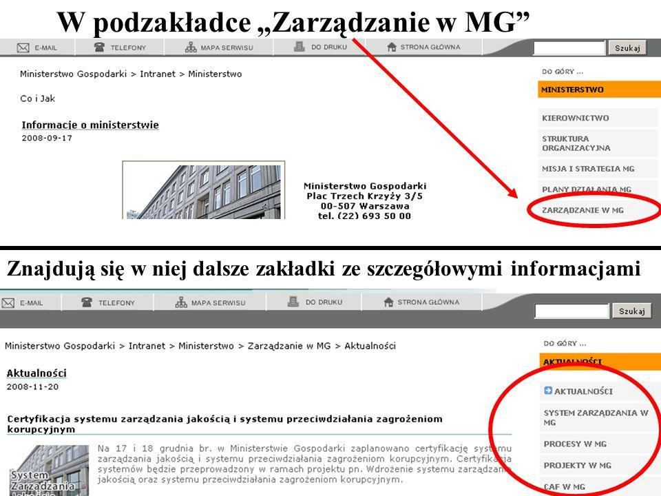 """W podzakładce """"Zarządzanie w MG"""