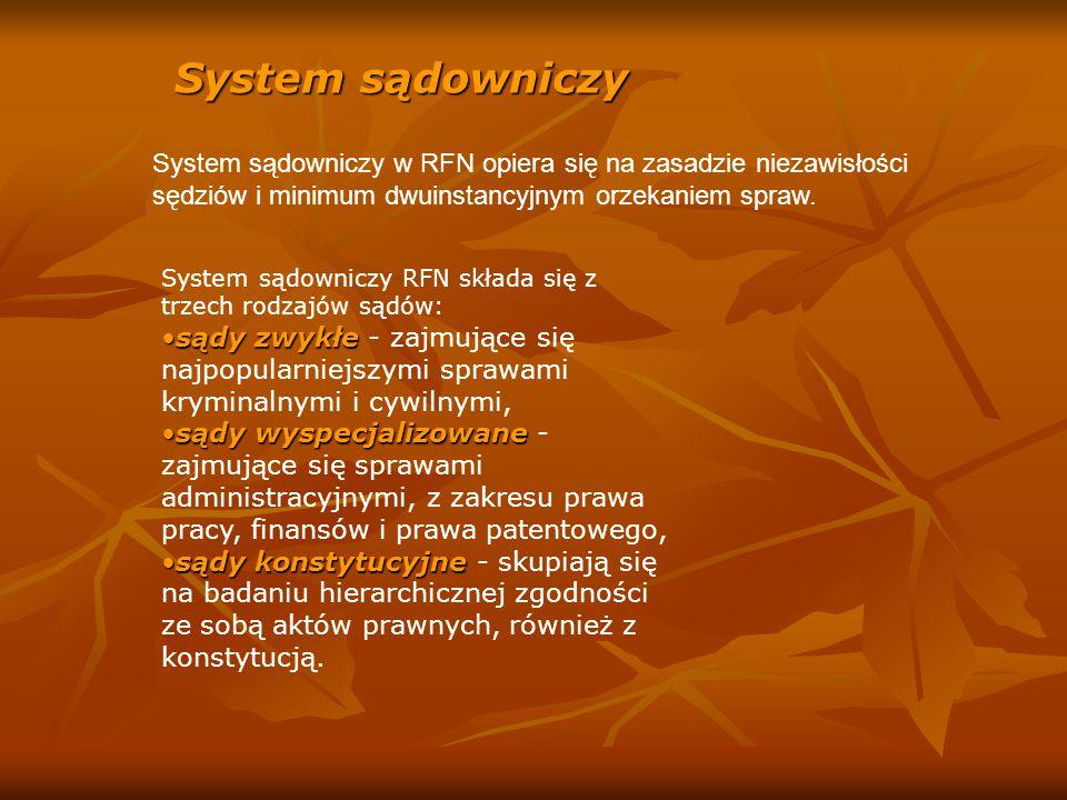 System sądowniczy System sądowniczy w RFN opiera się na zasadzie niezawisłości sędziów i minimum dwuinstancyjnym orzekaniem spraw.