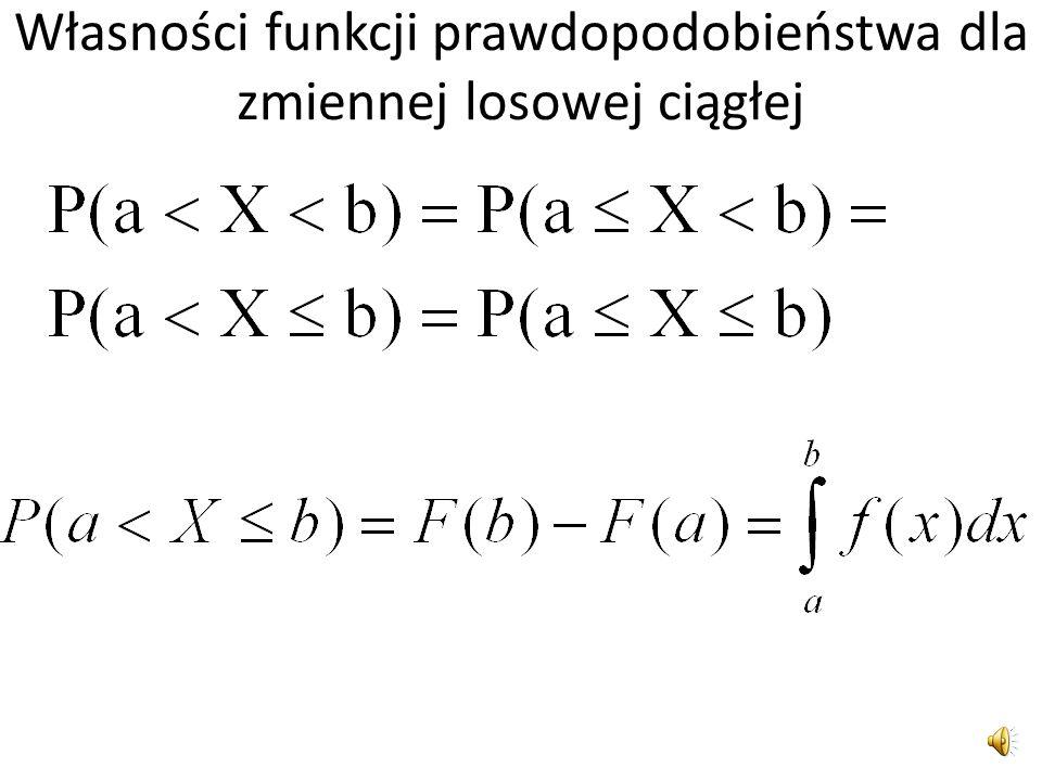 Własności funkcji prawdopodobieństwa dla zmiennej losowej ciągłej
