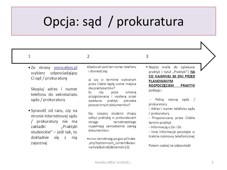 Opcja: sąd / prokuratura