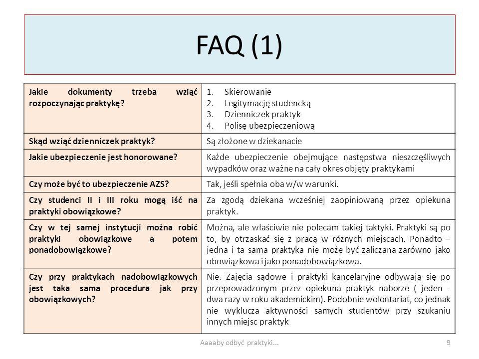 FAQ (1) Jakie dokumenty trzeba wziąć rozpoczynając praktykę