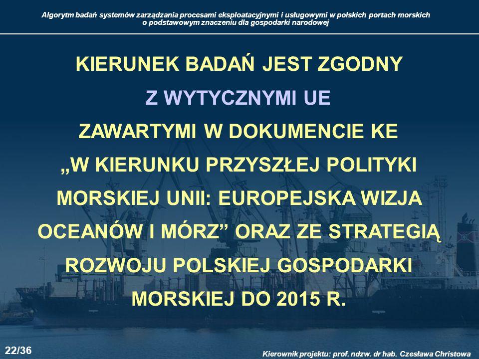 """KIERUNEK BADAŃ JEST ZGODNY Z WYTYCZNYMI UE ZAWARTYMI W DOKUMENCIE KE """"W KIERUNKU PRZYSZŁEJ POLITYKI MORSKIEJ UNII: EUROPEJSKA WIZJA OCEANÓW I MÓRZ ORAZ ZE STRATEGIĄ ROZWOJU POLSKIEJ GOSPODARKI MORSKIEJ DO 2015 R."""