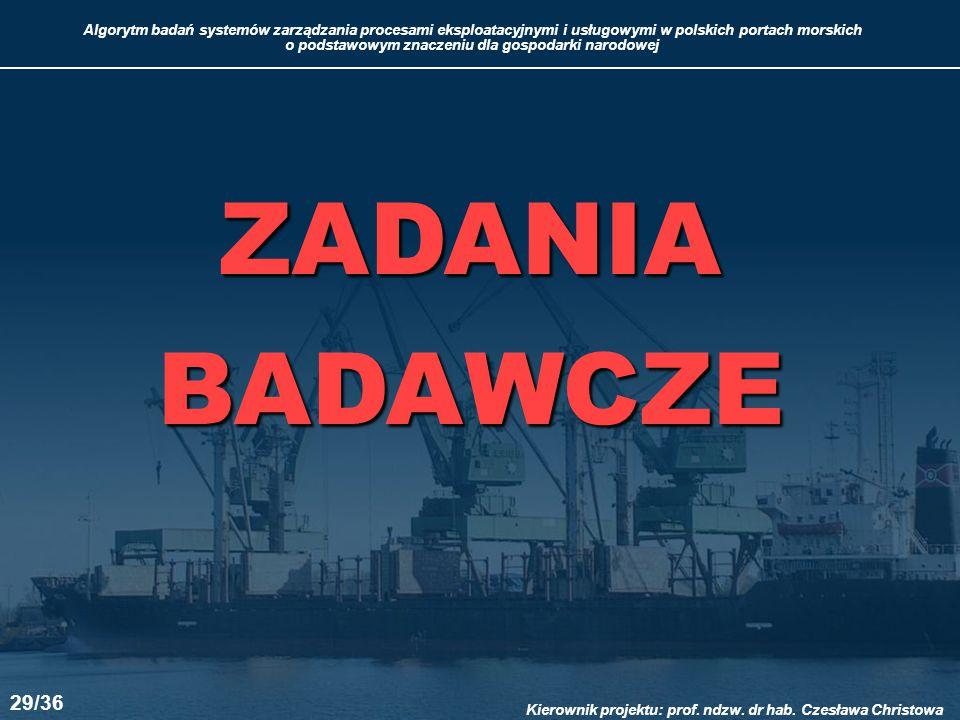 ZADANIA BADAWCZE 29/36 Kierownik projektu: prof. ndzw. dr hab. Czesława Christowa 29