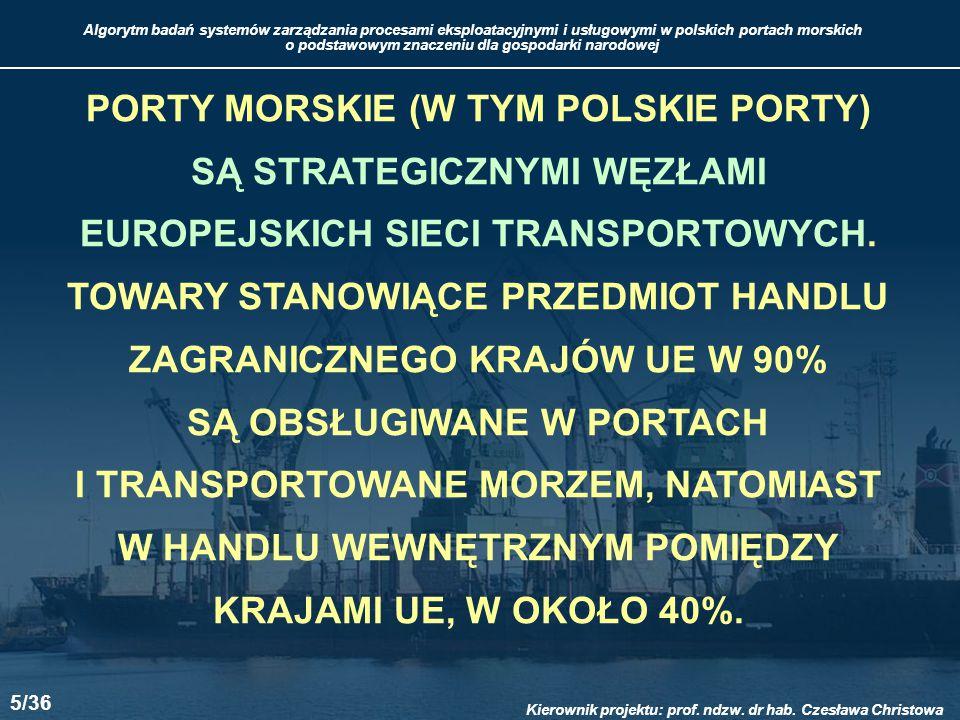 PORTY MORSKIE (W TYM POLSKIE PORTY) SĄ STRATEGICZNYMI WĘZŁAMI EUROPEJSKICH SIECI TRANSPORTOWYCH.