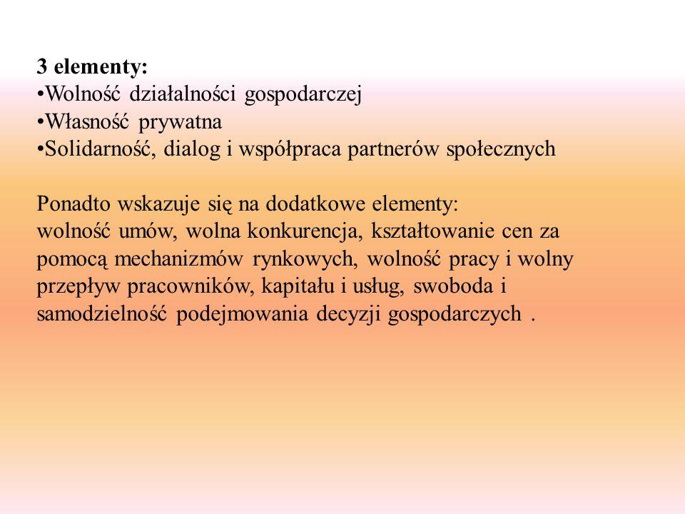 3 elementy: Wolność działalności gospodarczej. Własność prywatna. Solidarność, dialog i współpraca partnerów społecznych.
