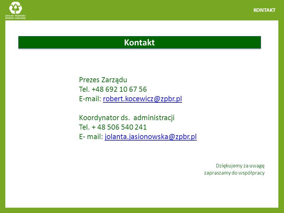 Kontakt Prezes Zarządu Tel. +48 692 10 67 56