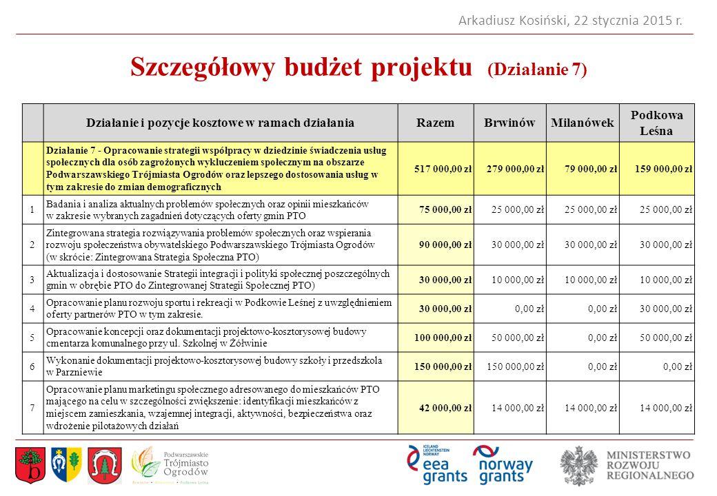 Szczegółowy budżet projektu (Działanie 7)
