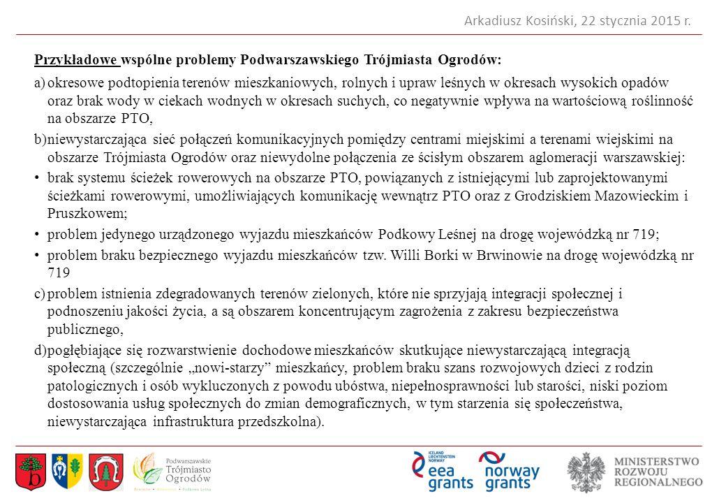 Przykładowe wspólne problemy Podwarszawskiego Trójmiasta Ogrodów: