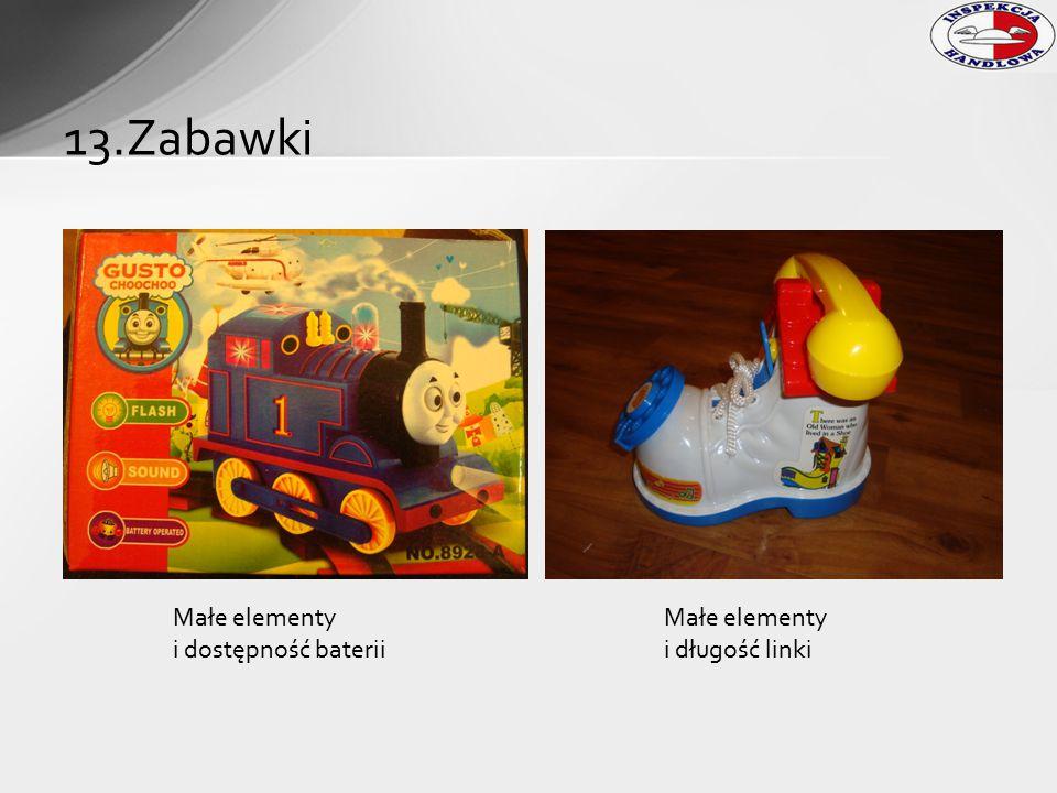 13.Zabawki Małe elementy i dostępność baterii Małe elementy