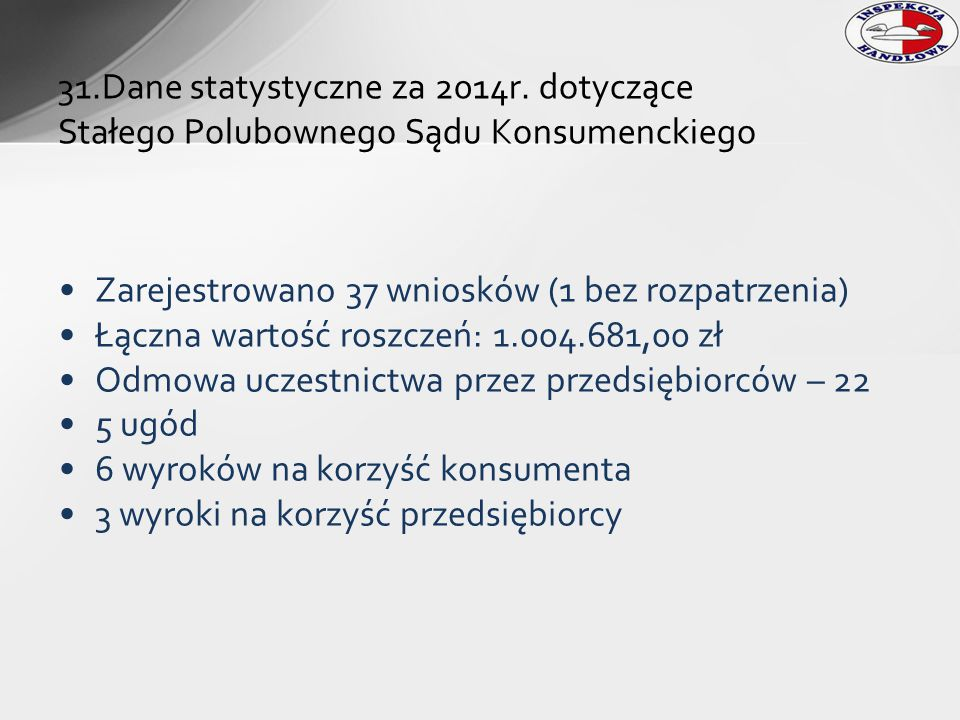 31.Dane statystyczne za 2014r. dotyczące Stałego Polubownego Sądu Konsumenckiego