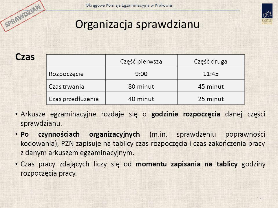 Organizacja sprawdzianu