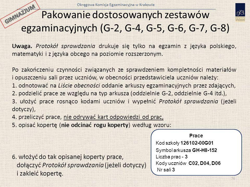 Pakowanie dostosowanych zestawów egzaminacyjnych (G-2, G-4, G-5, G-6, G-7, G-8)