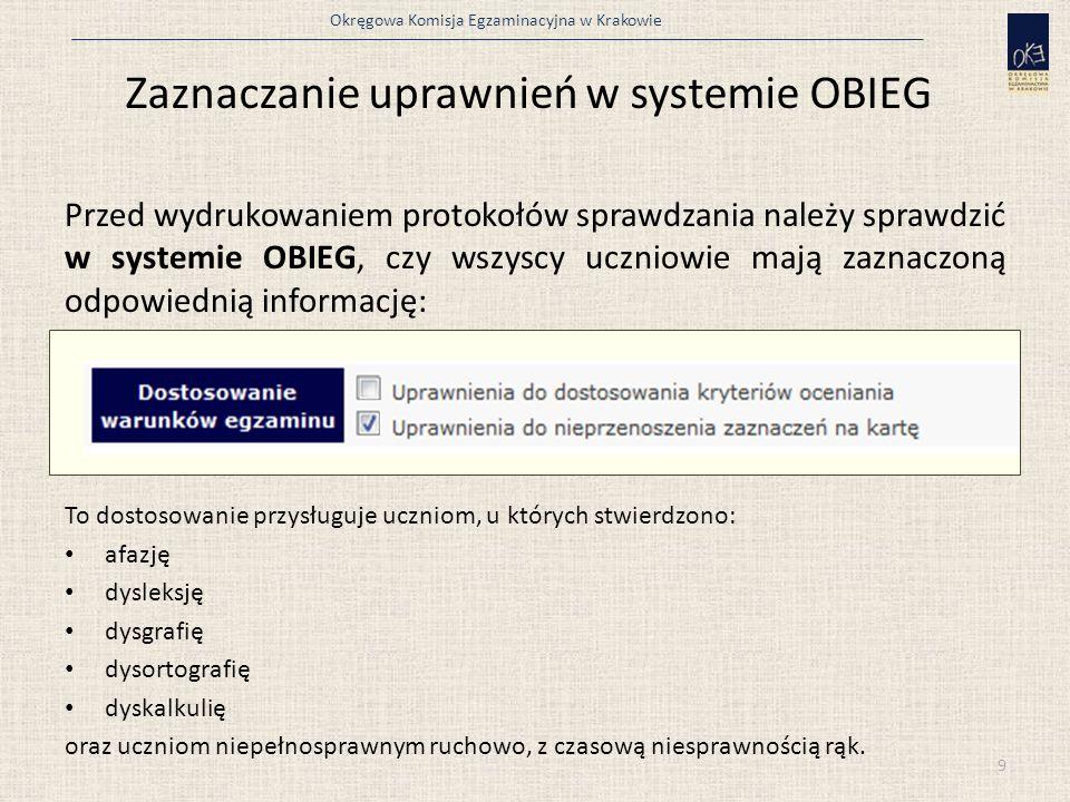 Zaznaczanie uprawnień w systemie OBIEG