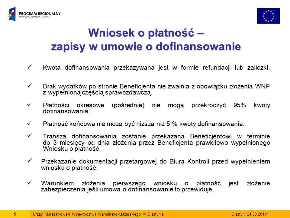 Wniosek o płatność – zapisy w umowie o dofinansowanie
