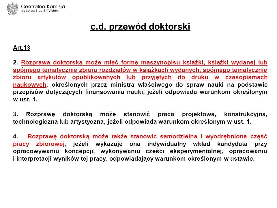 c.d. przewód doktorski Art.13