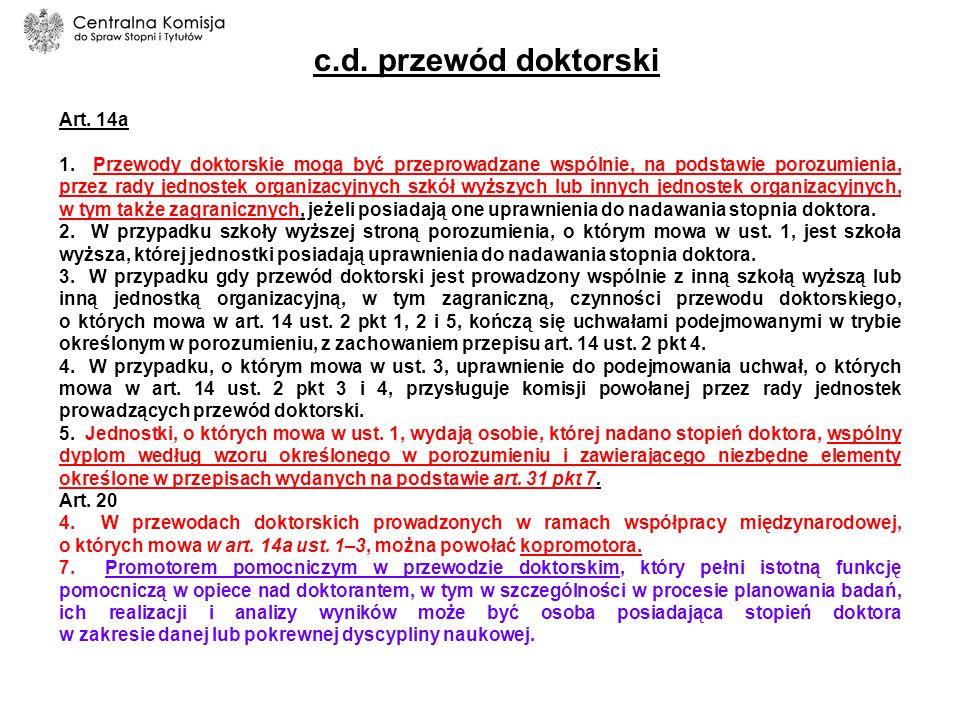 c.d. przewód doktorski Art. 14a
