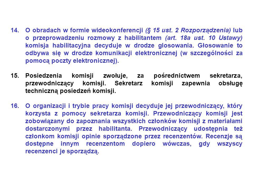 O obradach w formie wideokonferencji (§ 15 ust