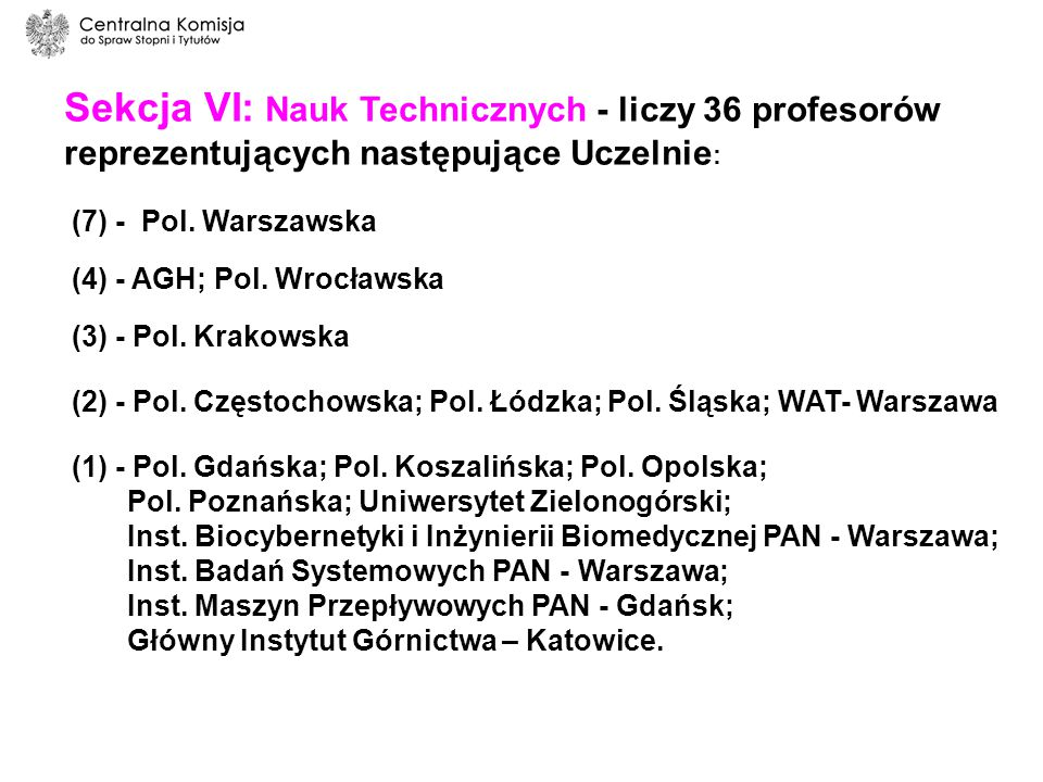 Sekcja VI: Nauk Technicznych - liczy 36 profesorów reprezentujących następujące Uczelnie: