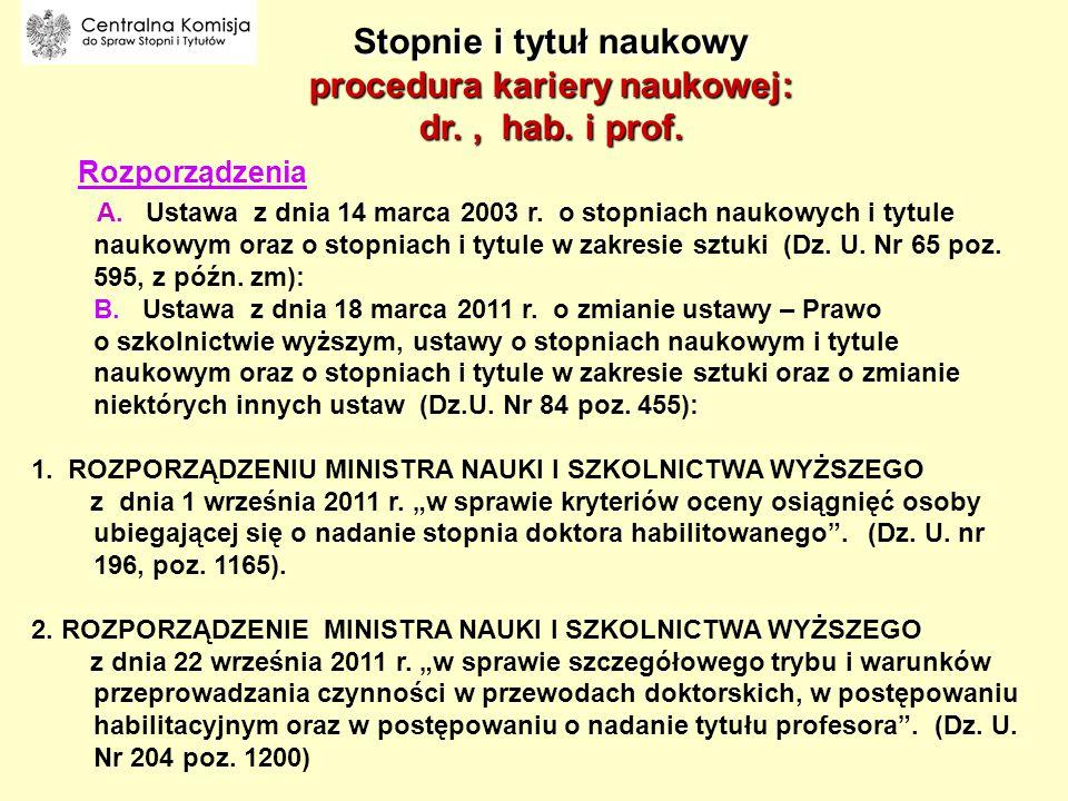 Stopnie i tytuł naukowy procedura kariery naukowej: dr. , hab. i prof.