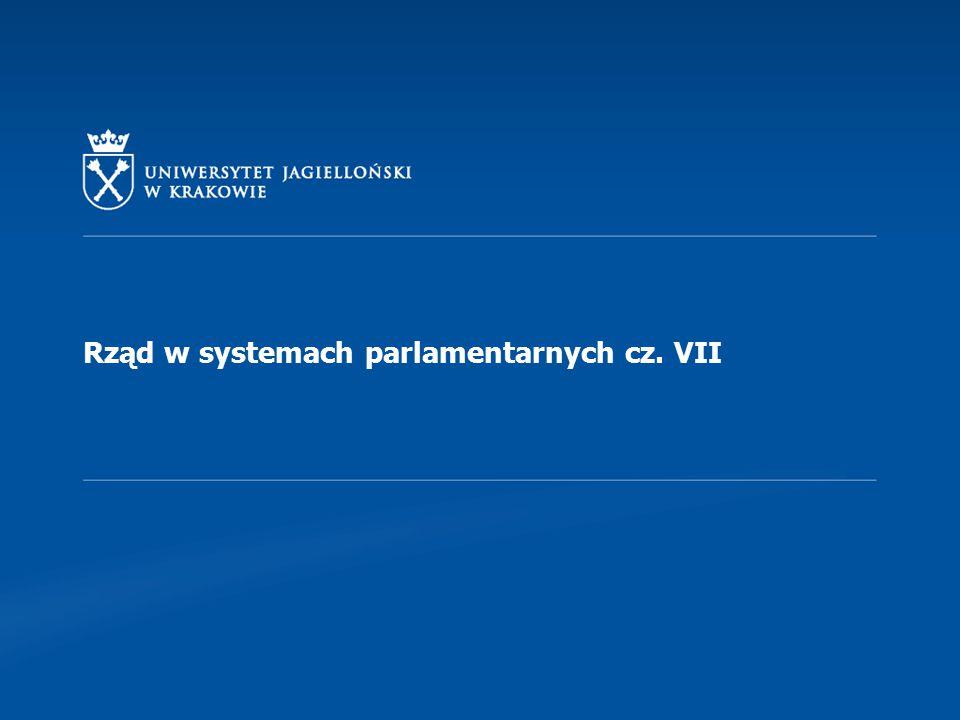 Rząd w systemach parlamentarnych cz. VII