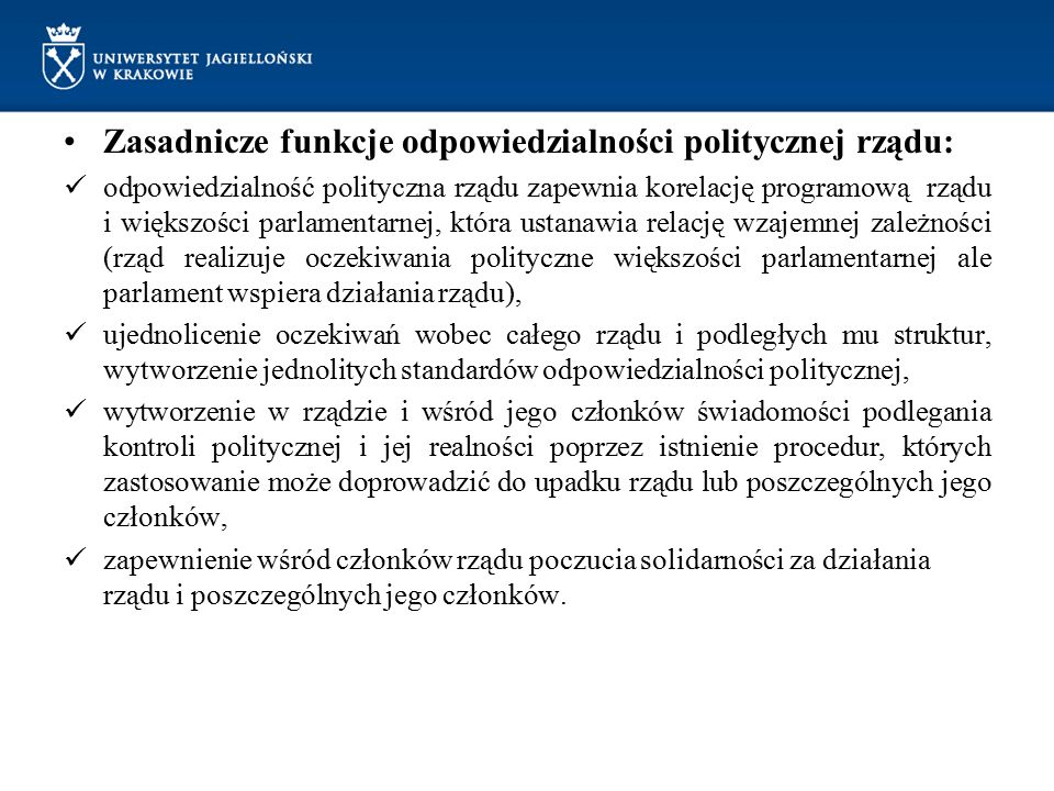 Zasadnicze funkcje odpowiedzialności politycznej rządu: