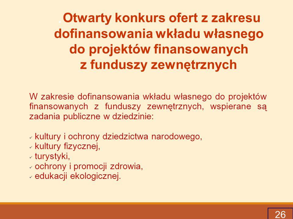 .Otwarty konkurs ofert z zakresu dofinansowania wkładu własnego