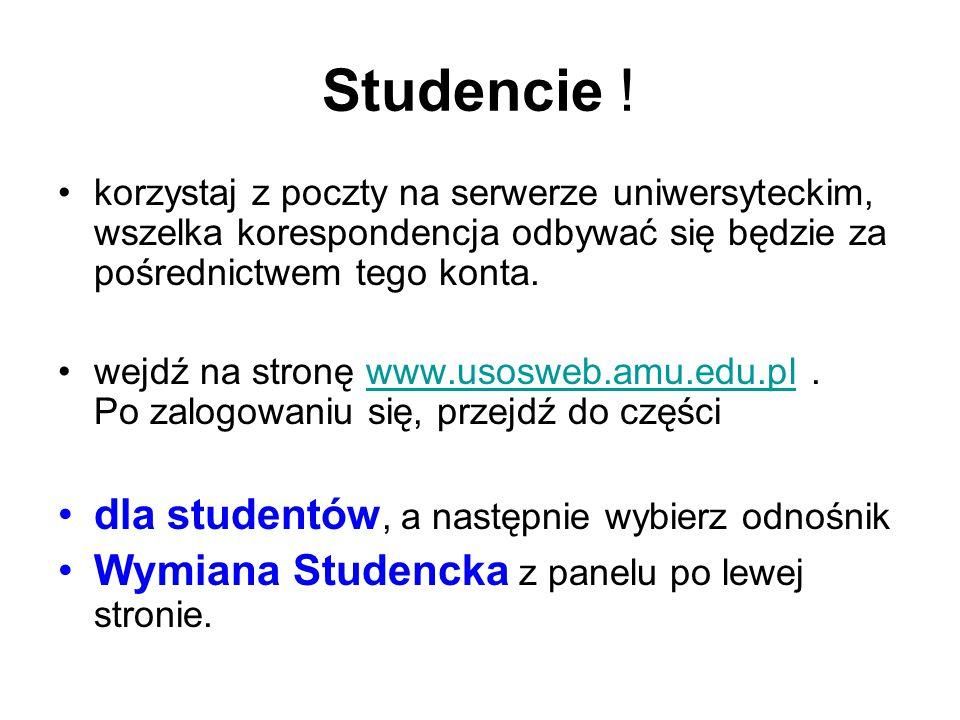 Studencie ! dla studentów, a następnie wybierz odnośnik